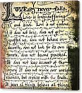 1 Corinthians 13 Love Never Fails Canvas Print