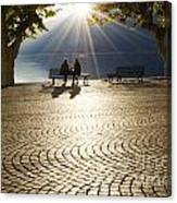 Couple On A Bench Canvas Print
