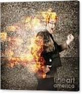 Crazy Businessman Running Engulfed In Fire. Late Canvas Print
