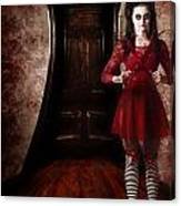 Creepy Woman With Bloody Scissors In Haunted House Canvas Print
