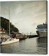 Cruise Ship At Port, Kingstown, Saint Canvas Print