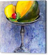 Cut Mango On Sterling Silver Dish Canvas Print