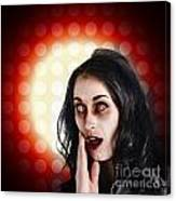 Dark Portrait Of A Zombie Girl In Shock Horror Canvas Print
