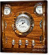 Dashboard In A Classic Wooden Boat Canvas Print
