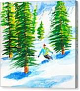 David Skiing The Trees  Canvas Print