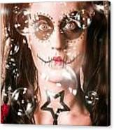 Day Of The Dead Girl Blowing Party Bubbles Canvas Print