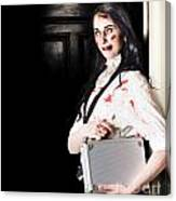 Dead Female Zombie Worker Holding Briefcase Canvas Print