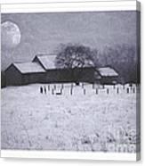 December Moonrise Farmstead Canvas Print