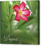 Deepest Sympathies Greeting Card Canvas Print