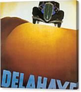 Delahaye Cars - Vintage Poster Canvas Print
