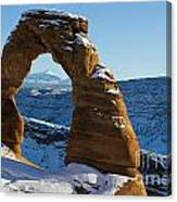 Delicate Arch With Snow Arches National Park Utah Canvas Print