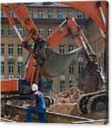 Demolition Vehicles At Work Canvas Print