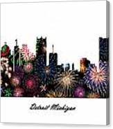 Detroit Michigan Fireworks Skyline Canvas Print
