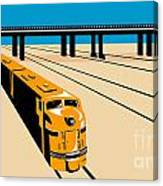 Diesel Train High Angle Retro Canvas Print