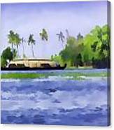 Digital Oil Painting - A Houseboat On Its Quiet Sojourn Through The Backwaters Of Allep Canvas Print