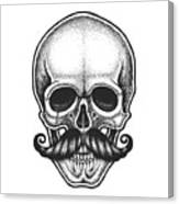 Dotwork Styled Skull With Moustache Canvas Print