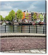 Dutch Houses By The Amstel River In Amsterdam Canvas Print