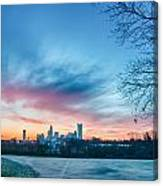 Early Morning Sunrise Over Charlotte City Skyline Downtown Canvas Print