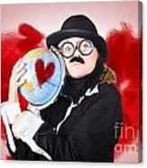 Eccentric Man Showing World Love By Cuddling Globe Canvas Print