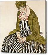 Edith With Striped Dress Sitting Canvas Print