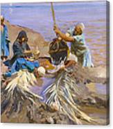 Egyptians Raising Water From The Nile Canvas Print