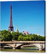 Eiffel Tower And Bridge On Seine River In Paris France Canvas Print