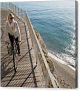 Elevated Perspective Of Woman Riding Canvas Print