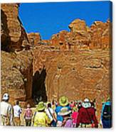 Entering Mile-long And 600 Foot High Gorge Leading To Treasury In Petra-jordan  Canvas Print