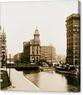 Erie Canal On Salina Street In Syracuse New York - Circa 1904 Canvas Print