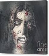 Evil Dead Vampire Woman Looking In Bloody Window Canvas Print