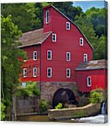 Faded Red Water Mill On The Dam Of The Raritan River Canvas Print