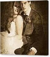 Faded Vintage Wedding Photograph Canvas Print