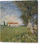 Farmhouse In A Wheat Field Canvas Print