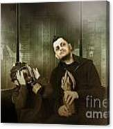 Father And Son In Gasmask. Nuclear Terror Attack Canvas Print