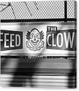 Feed The Clown In Black And White Canvas Print