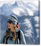 Female Backcountry Skier Skinning Canvas Print