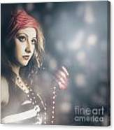 Female Fashion Model Holding Jewelry Necklace Canvas Print