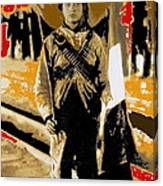Female Soldier With Mexican Flag  Unknown Location C. 1914-2014 Canvas Print