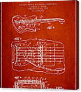 Fender Floating Tremolo Patent Drawing From 1961 - Red Canvas Print