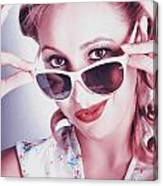 Fifties Glamor Girl Wearing Retro Pin-up Fashion Canvas Print