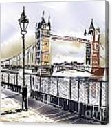 Fine Art Drawing The Tower Bridge In London Uk Canvas Print