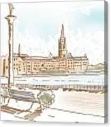Fine Art Landscape Sketch Of Stockholm Sweden  Canvas Print