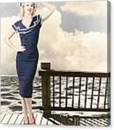 Fine Art Vintage Pin-up. Vacation Departure Dock Canvas Print