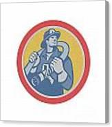 Fireman Firefighter Holding Fire Hose Retro Canvas Print