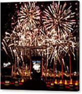 Fireworks At Kauffman Stadium Canvas Print