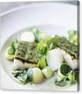 Fish Fillet With Herb Topping And Vegetables Canvas Print