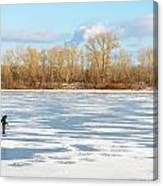Fisherman On The Frozen River Canvas Print