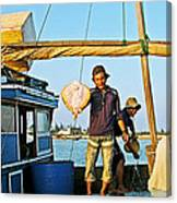 Fisherman With A Skate On Thu Bon River In Hoi An-vietnam  Canvas Print