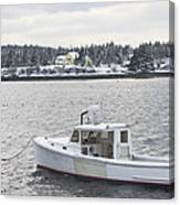 Fishing Boat After Snowstorm In Port Clyde Harbor Maine Canvas Print