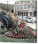 Flower Cart In Sisteron France Canvas Print